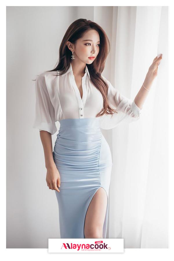 blue pencil skirt white shirt