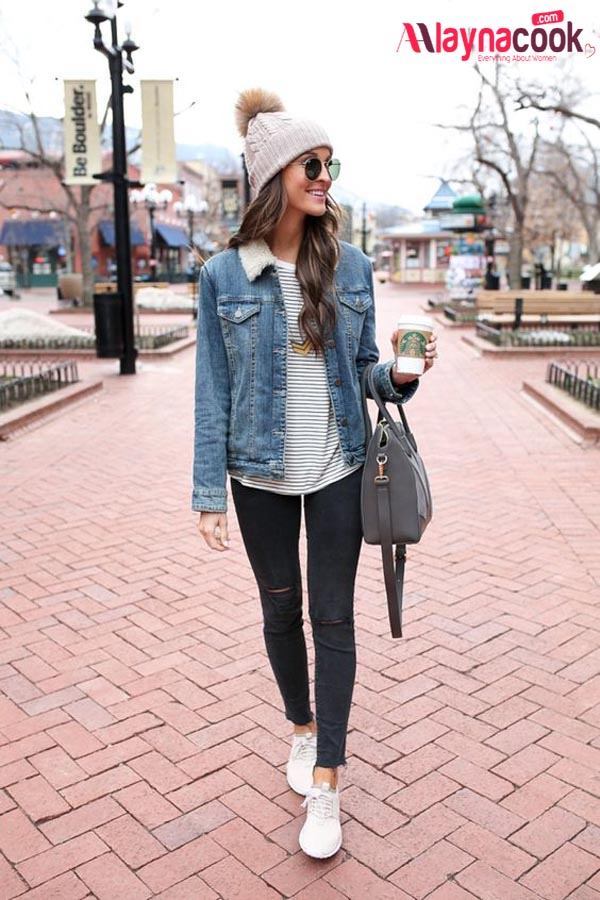 denim jacket with shearling