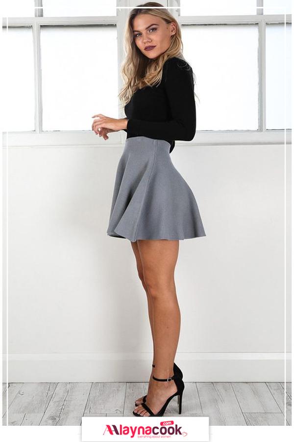 mini skirt black dress black shoes