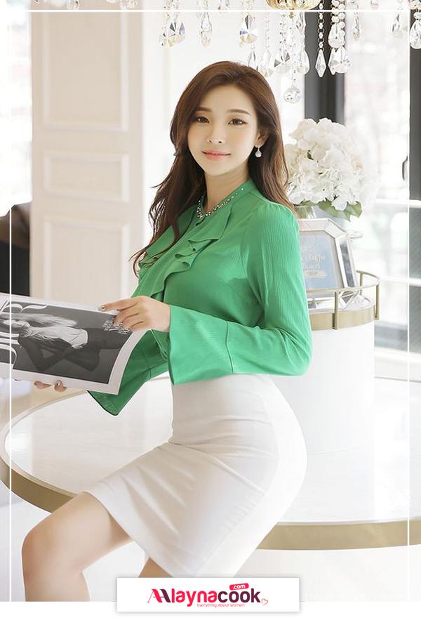 white skirt and green shirt